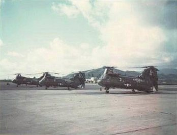 CH-46s on runway destined for Viet Nam
