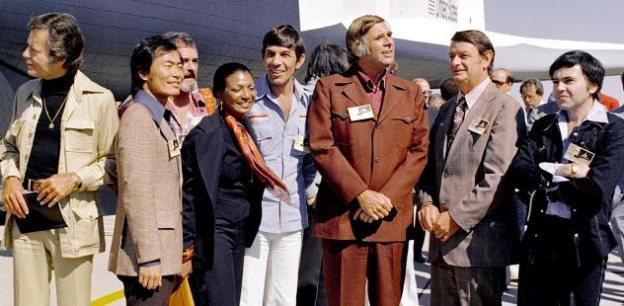 Star Trek cast - space shuttle Enterprise