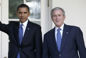 Pres. elect Barack Obama with former Pres. George W. Bush