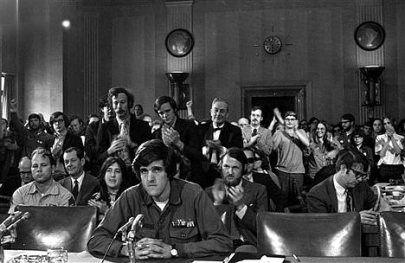 John Kerry Vietnam veteran giving testimony back in the day before Fulbright committee