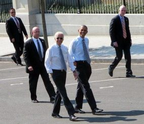 Obama Biden stroll together to a luncheon