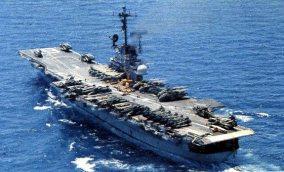 USS Hancock (CVA-19) with HMH-463 on deck 1975
