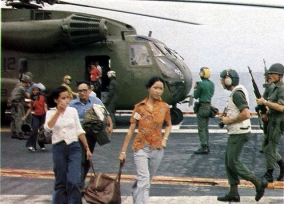 Vietnam evacuees arrive on USS Hancock (CVA-19) April '75
