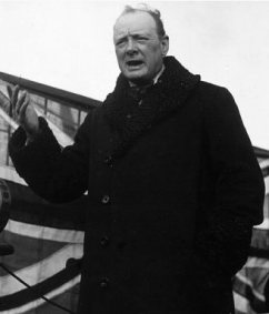 Winston Churchill giving impassioned speech