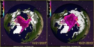 Arctic ice cap increase in size