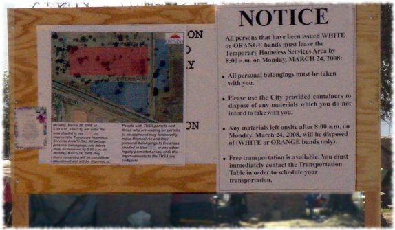 Eviction notice for people living in tents