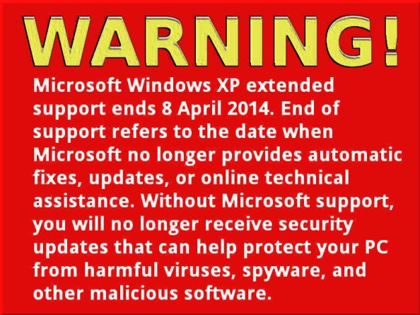 Windows XP end of product life 8 April 2014