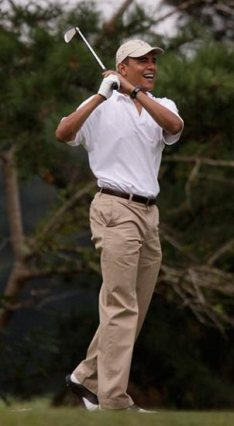President Obama golfing at Martha's Vineyard