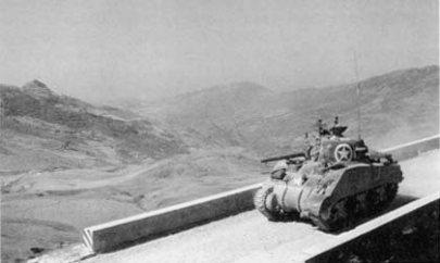 Sherman_tank_Italian_road_WWII